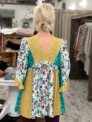 Ruffled Multi Floral Print Tunic Top
