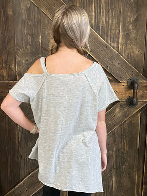 Asymmetrical Cold Shoulder Top in Grey