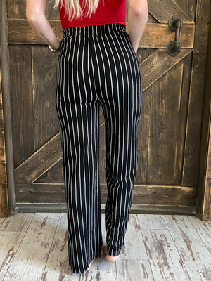 Striped Wide Leg Pants with Waist Tie - Black