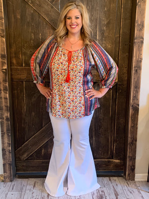 Multi Print Top with Tassel Tie