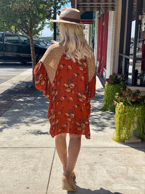 Oversized Floral Print Dress with Dolman Sleeves