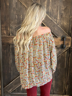 Floral Open Sleeve On/ Off Shoulder Top with Front Tie - Tan