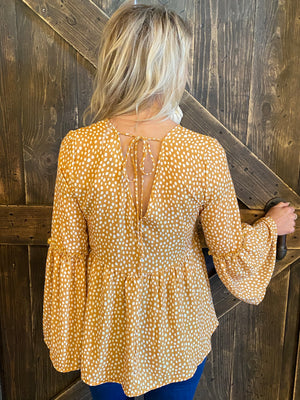 Dot Printed Bell Sleeve Top with Back Tie