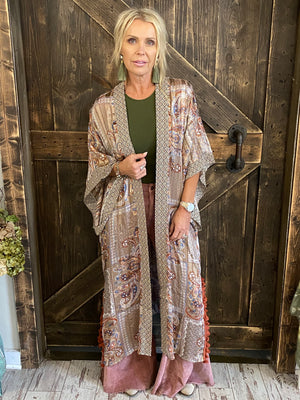 Paisley Printed Duster Cardigan with Tassels