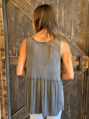 Washed Trim Tank Top in Ash