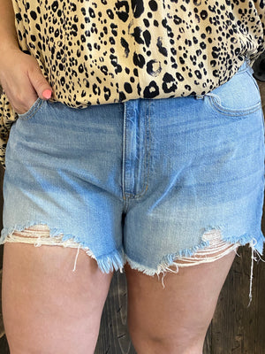 Distressed High Rise Loose Fit Shorts