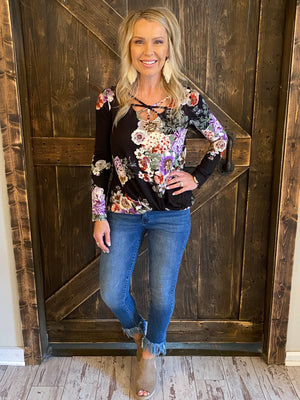 Floral Caged Neck Top with Front Twist