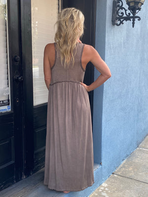 Babydoll Dress with Front Slits in Brown