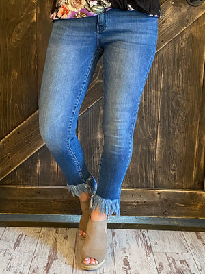High Rise Ankle Skinny with Fringe Hem