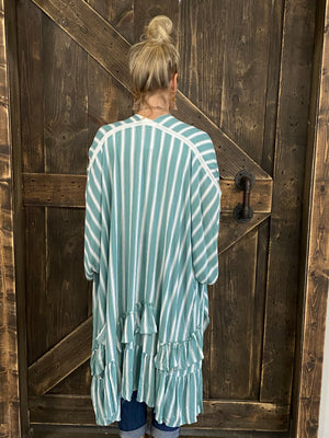 Striped Ruffled Hemline Duster Cardigan