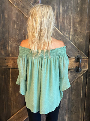 Textured Off Shoulder Bell Sleeve Top
