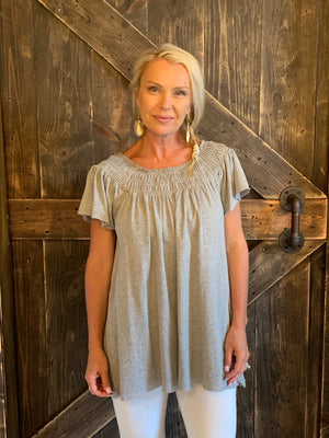Smocked Off Shoulder Tunic Top in Grey