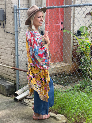 Mixed Print Bell Sleeve Kimono with Sharkbite Hem