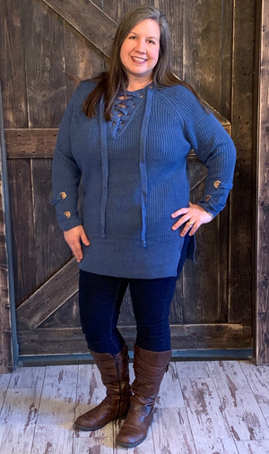 72d7c8923f Eyelet Lace Up Sweater - The Rustic Rack Boutique