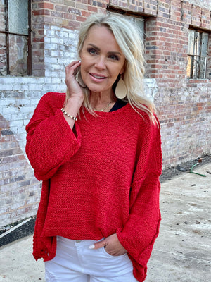 Chunky Knit Sweater in Red