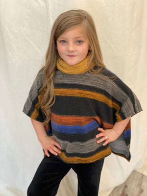Striped Cowl Neck Poncho Top