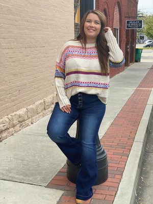 Multi Colored Boho Knitted Sweater