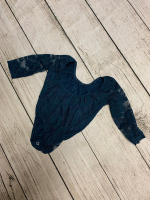 Long Sleeve Lace Leotard in Navy