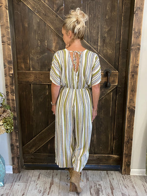 Cropped Striped Jumpsuit with Tassel Tie