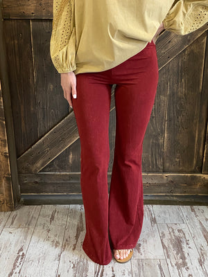 Mineral Wash Bell Bottom Pants in Cranberry