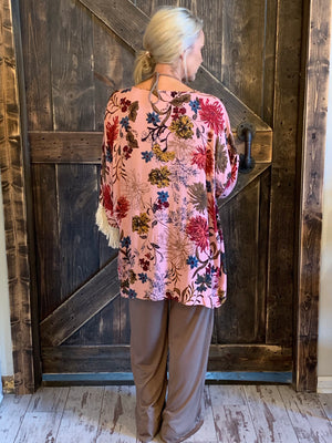 Floral Open Front Cardigan with Tassel Hem
