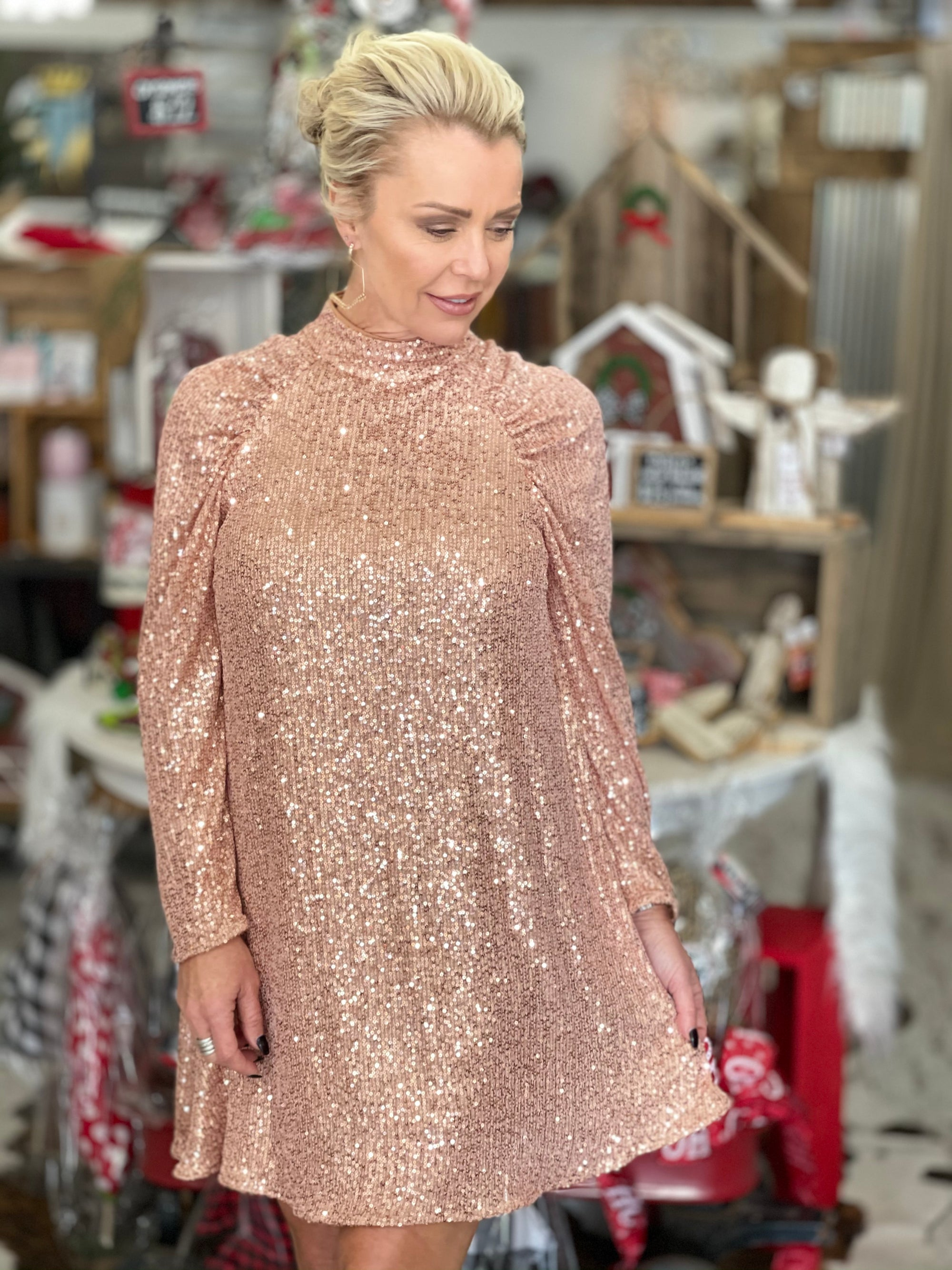 Mock Neck Sequin Dress in Rose Gold