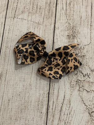 Leopard French Knot Bow Clip