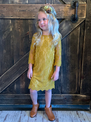 3/4 Sleeve Lace Dress in Mustard