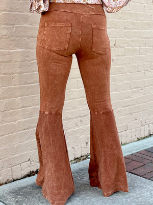 Washed Bell Bottom Flare Pants with Pockets in Pumpkin Spice