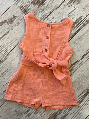 Button Up Sleeveless Romper with Waist Tie