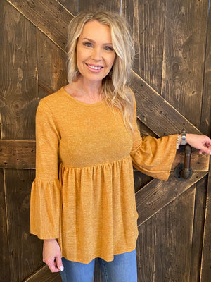 Solid Babydoll Top with Bell Sleeves