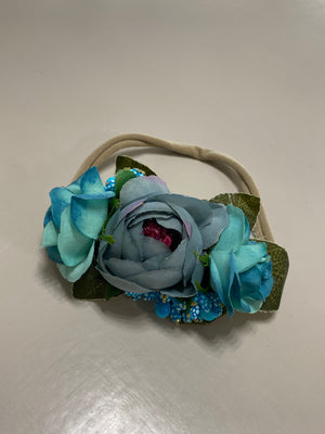 Blue & Teal Floral Nylon Headband