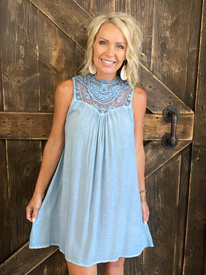 Mineral Wash Dress with Lace Detail