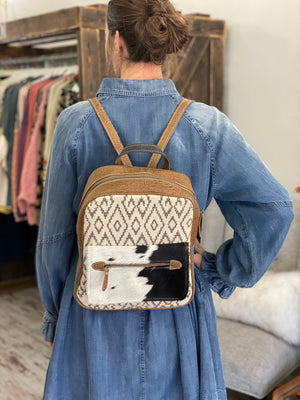 Chevon Rug & Hairon Front Flap Backpack