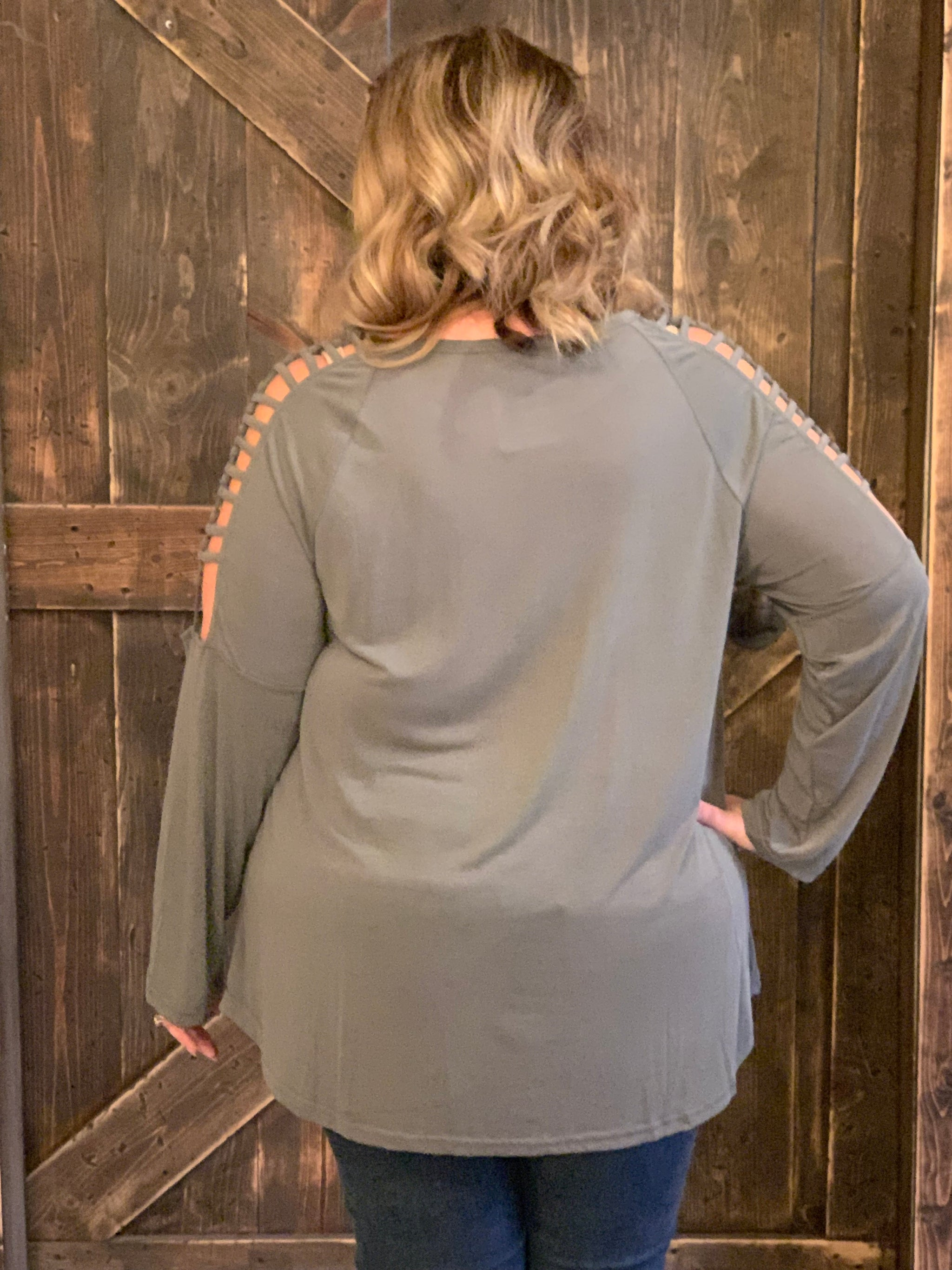 c29baa2e545d09 Caged Cold Shoulder Modal Top - Curvy - The Rustic Rack Boutique