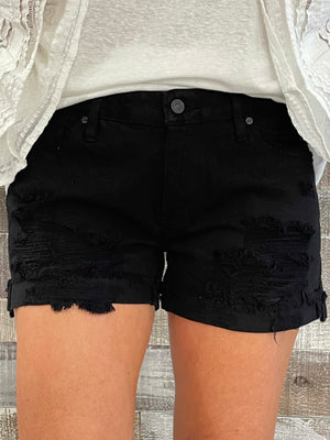 Black Distressed Mid Rise Denim Shorts