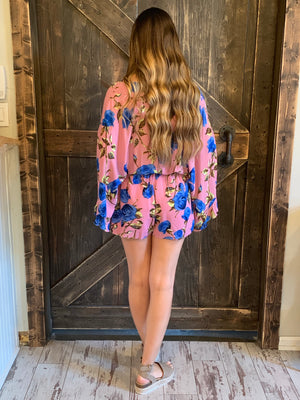 Floral Wide Sleeve Romper with Tie