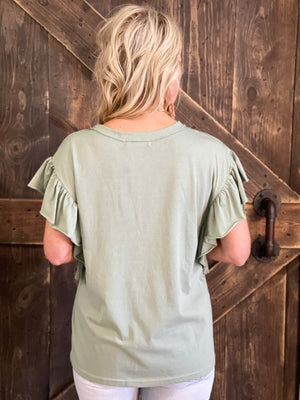 Solid Ruffle Sleeve Top in Sage