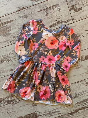 Long Sleeve Floral Babydoll Tunic Dress