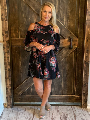 Floral Cold Shoulder Dress with Ruffle Sleeves