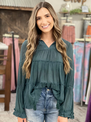 Tiered Bell Sleeve Top with Tassel Tie