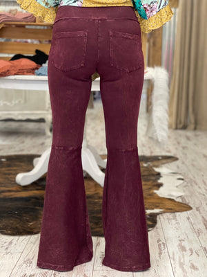 Washed Bell Bottom Flare Pants with Pockets in Burgundy