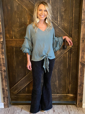 Gauze Top with Tiered Frayed Sleeves