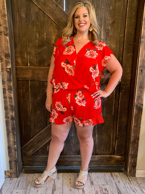 Floral Surplice Romper with Ruffle Hem