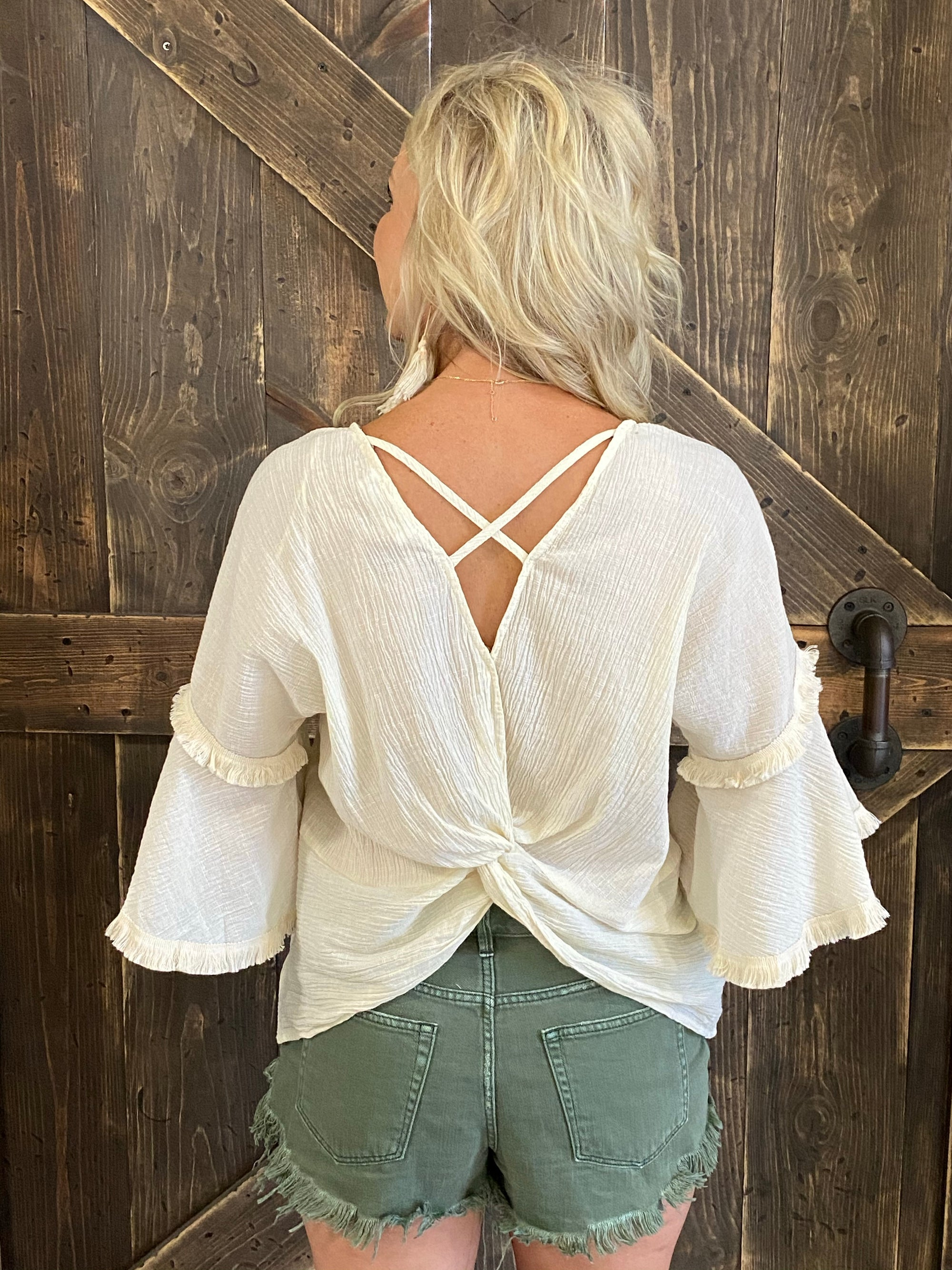Bell Sleeve Twist Back Top with Frayed Hem
