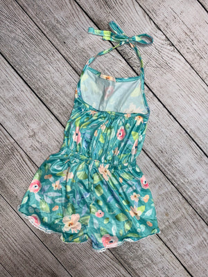 Floral Halter Romper with Lace Trim in Teal