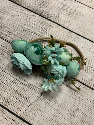 Flower Crown Headband in Sky Blue