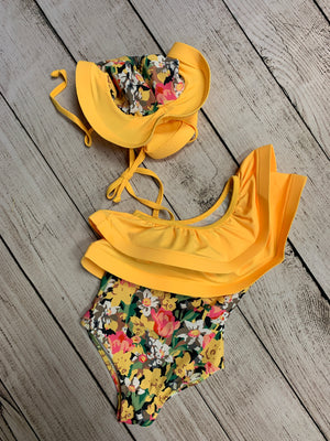 Ruffled Floral Swimsuit with Hat