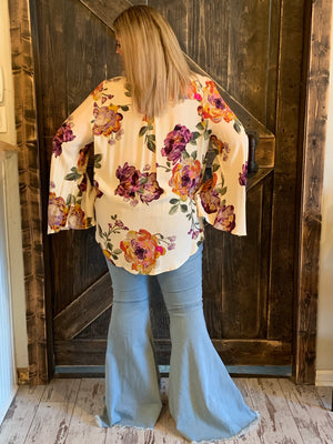 Floral Surplice Bell Sleeve Top in White