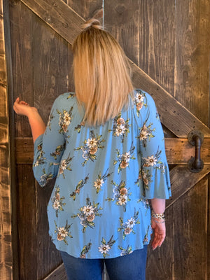 Floral On/ Off Shoulder Top with Tie on Sleeves